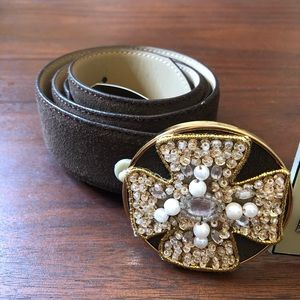 Oscar de la Renta Brown Suede Leather Belt Size L